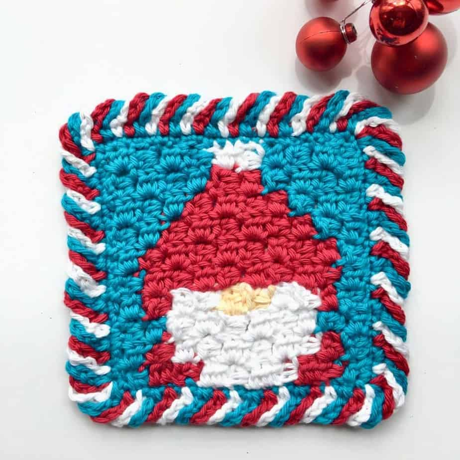 Gnome C2C Dishcloth free crochet pattern