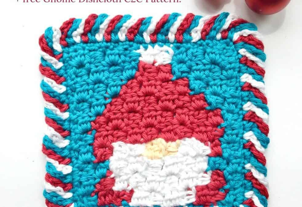 Candy Cane Crochet Border in 3 colors Photo & Video Tutorial + free Gnome Dishcloth pattern!