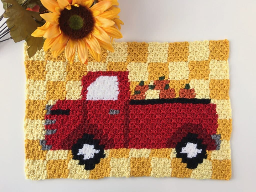 Red Truck Harvest Pumpkin C2C Pillow Free Crochet Pattern