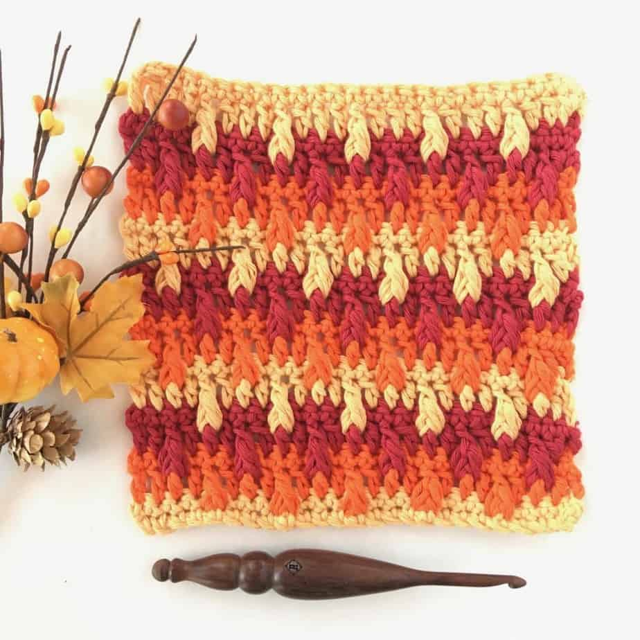 Falling Leaves Crochet Stitch Photo & Video Tutorial