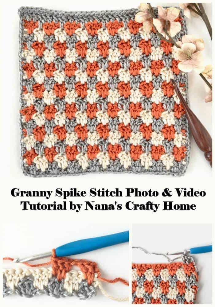 Granny Spike Crochet Stitch Photo and Video Tutorial