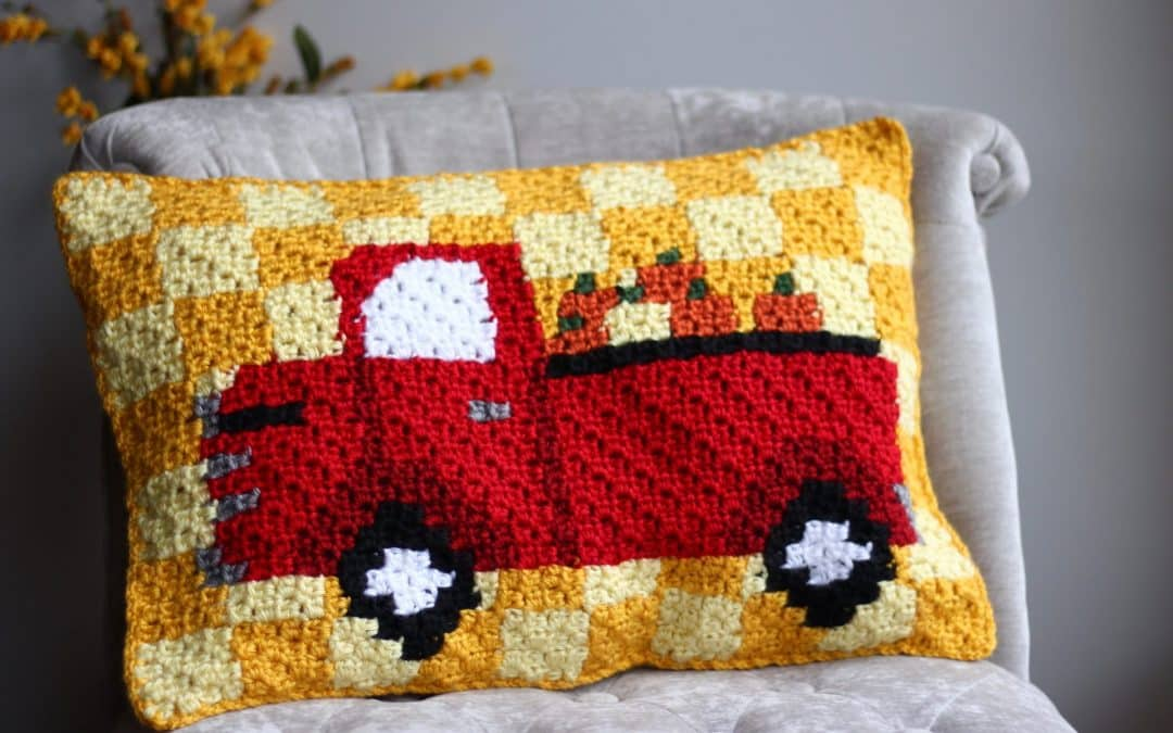 Red Truck Pumpkin Harvest C2C Pillow Free Crochet Pattern