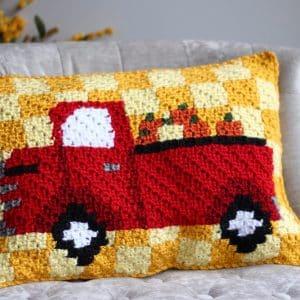 Red Truck Harvest Pumpkin C2C Pillow Free Crochet Pattern