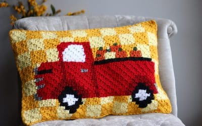 Red Truck Pumpkin Harvest C2C Pillow Free Crochet Pattern