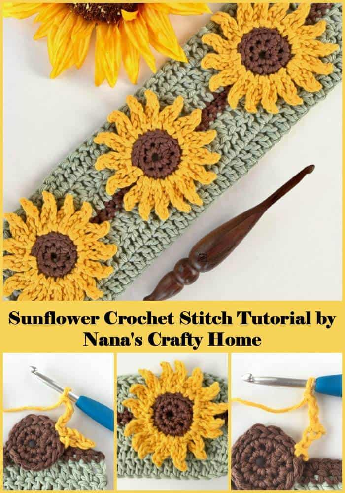 Sunflower Crochet Stitch Photo & Video Tutorial