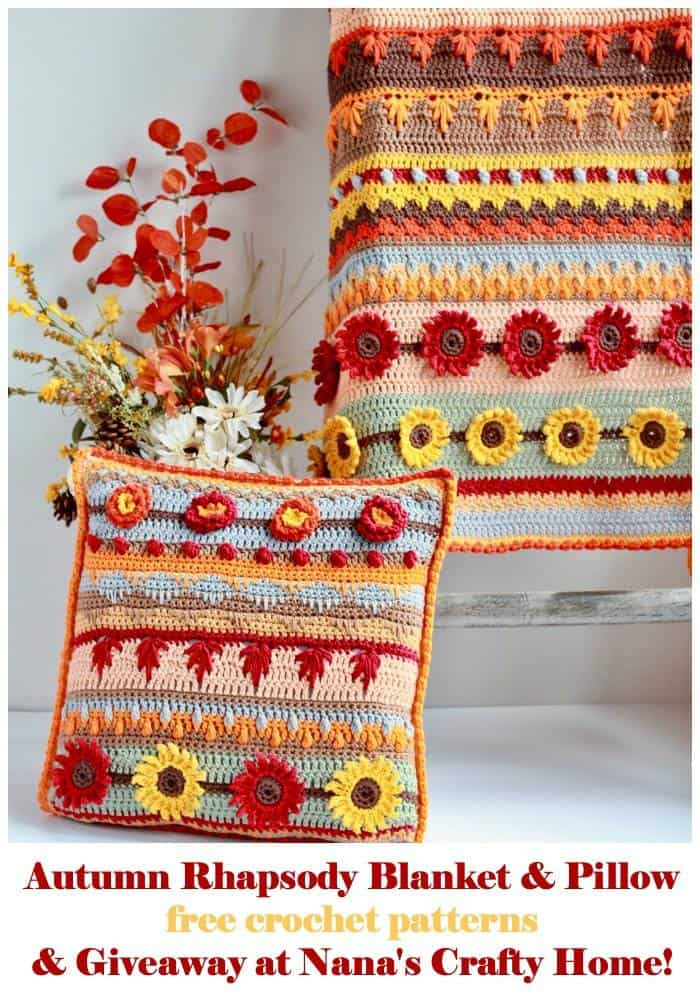 Stitch Sampler Autumn Rhapsody Blanket and Pillow Free crochet Patterns + Giveaway
