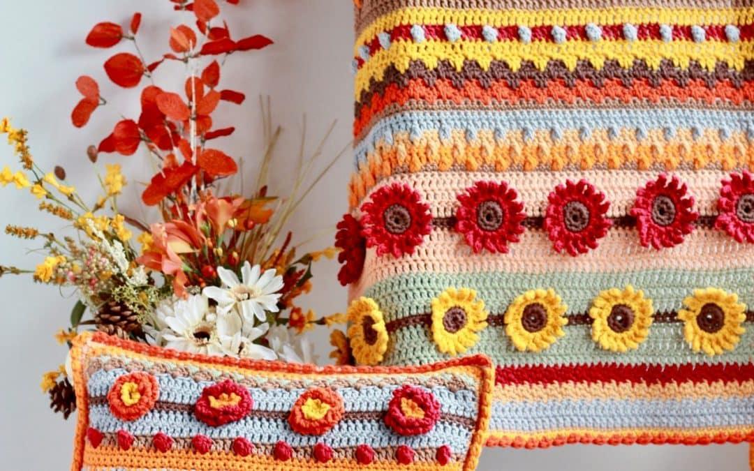 Stitch Sampler Autumn Rhapsody Blanket & Pillow Free Crochet Pattern & Giveaway!!