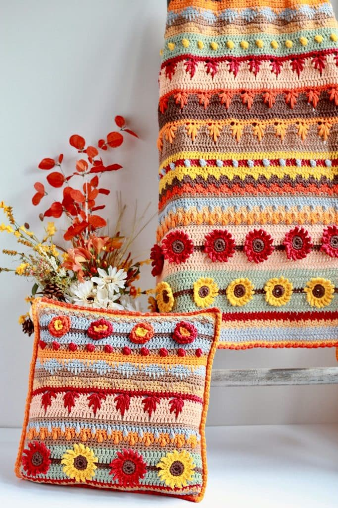 Stitch Sampler Autumn Rhapsody Blanket and Pillow Free crochet Patterns