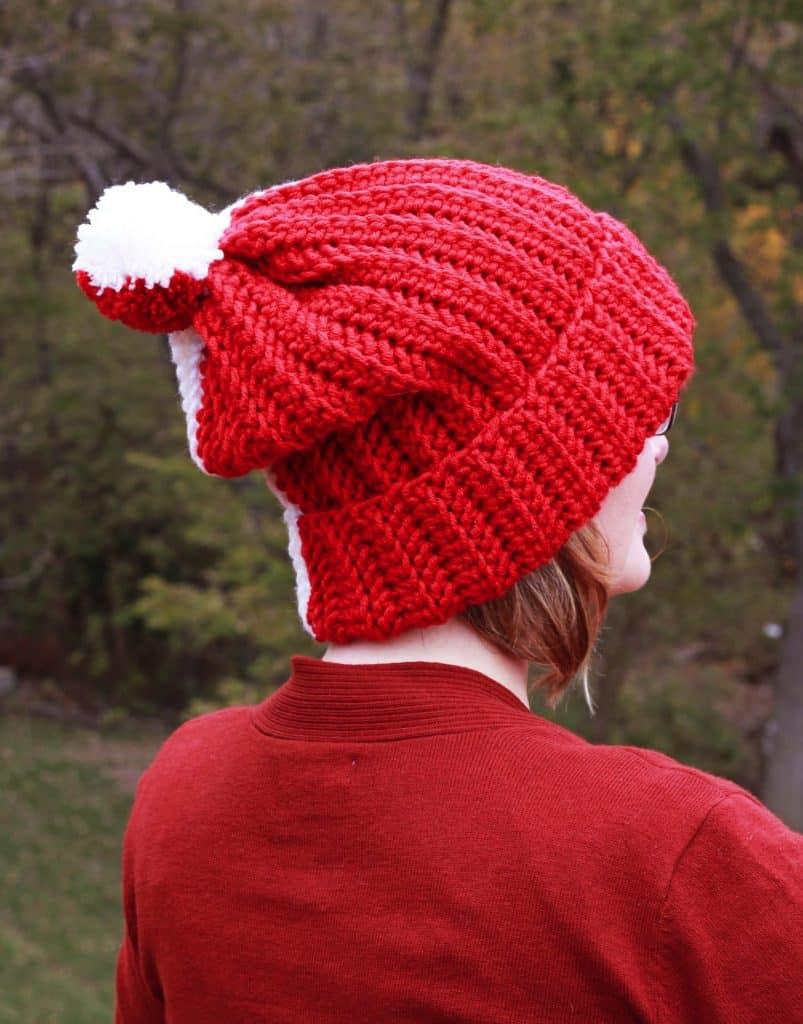 Easy Knit look Herringbone Color Block Hat free crochet pattern