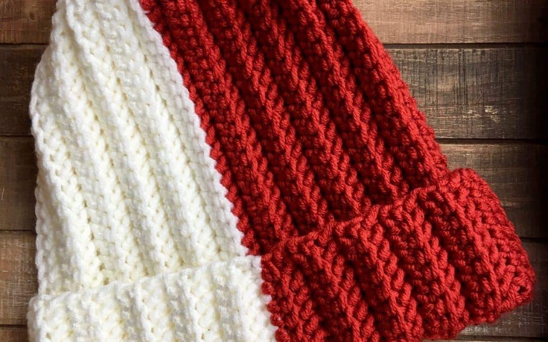 Easy Crochet looks like knit Herringbone Hat color block free crochet pattern