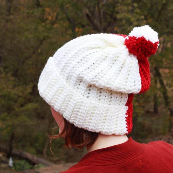 Easy Knit look Herringbone Color Block Hat free crochet pattern
