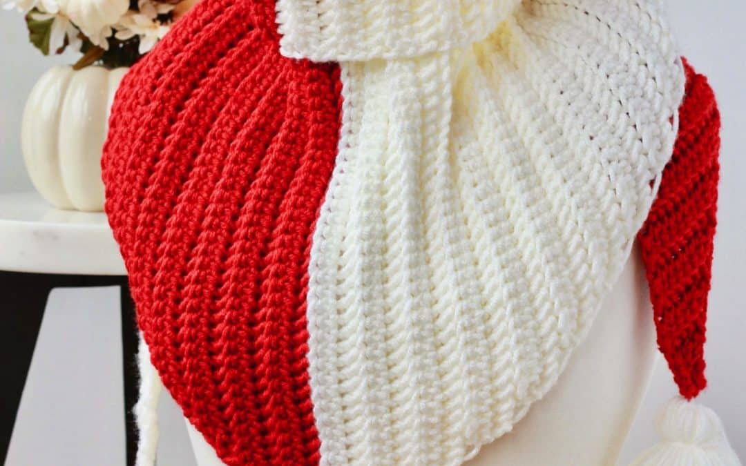 Knit Look Simple Herringbone Color Block Triangle Scarf free crochet pattern