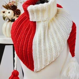 Knit look Simple Herringbone Color Block Triangle Scarf free crochet pattern