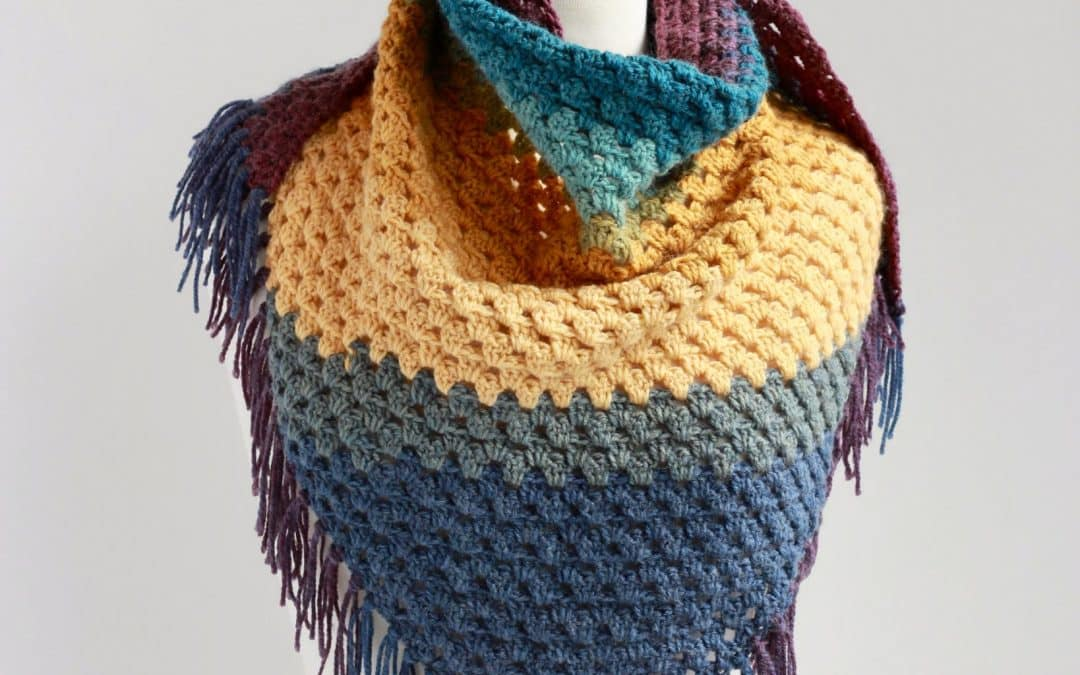 Bottom Up Granny Stitch Triangle Scarf Beginner Friendly Painted Desert Scarf free crochet pattern