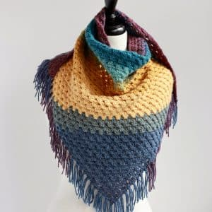 Bottom Up Granny stitch Triangle Scarf free crochet pattern Painted Desert Scarf