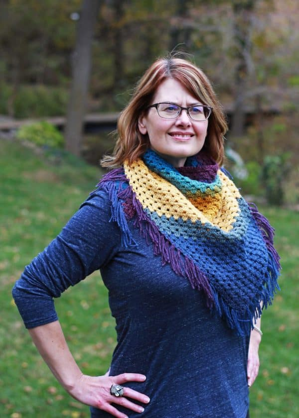 Bottom Up Granny stitch Triangle Scarf free crochet pattern Painted Desert Scarf