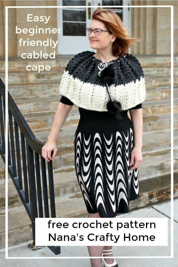 Easy Beginner friendly crochet cable cape