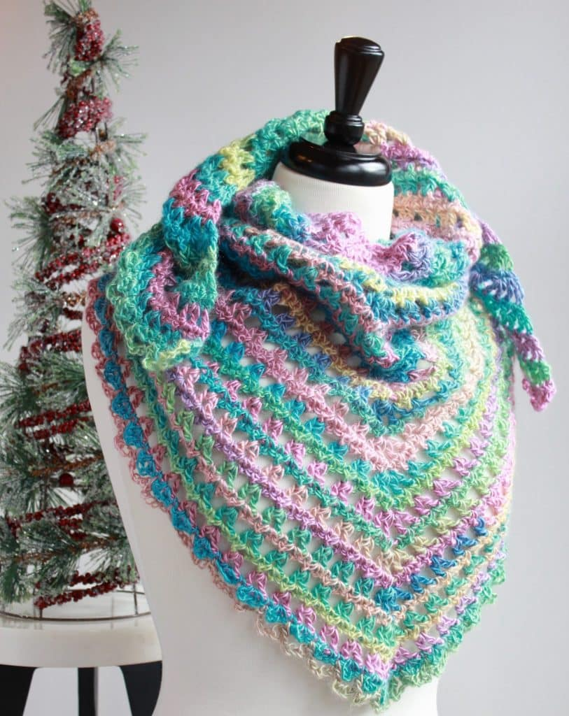 Easy Crochet Triangle Scarf Candy Kisses Triangle Scarf Free Crochet Pattern