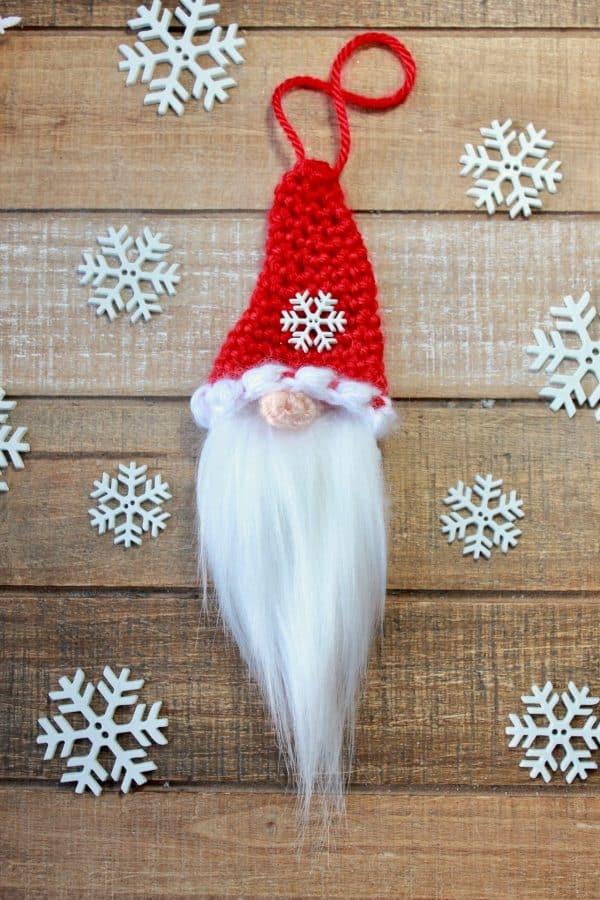 Santa Gnome Christmas Ornament free crochet pattern