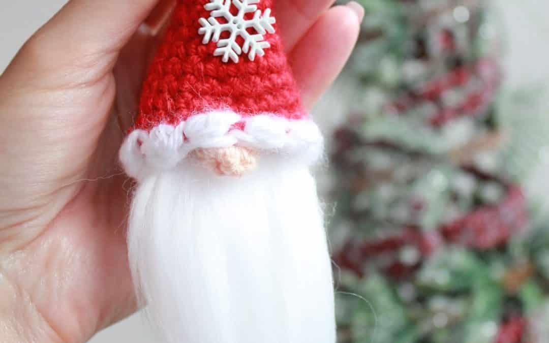 Santa Christmas Gnome Ornament or Applique Fast & Easy Free Crochet Pattern