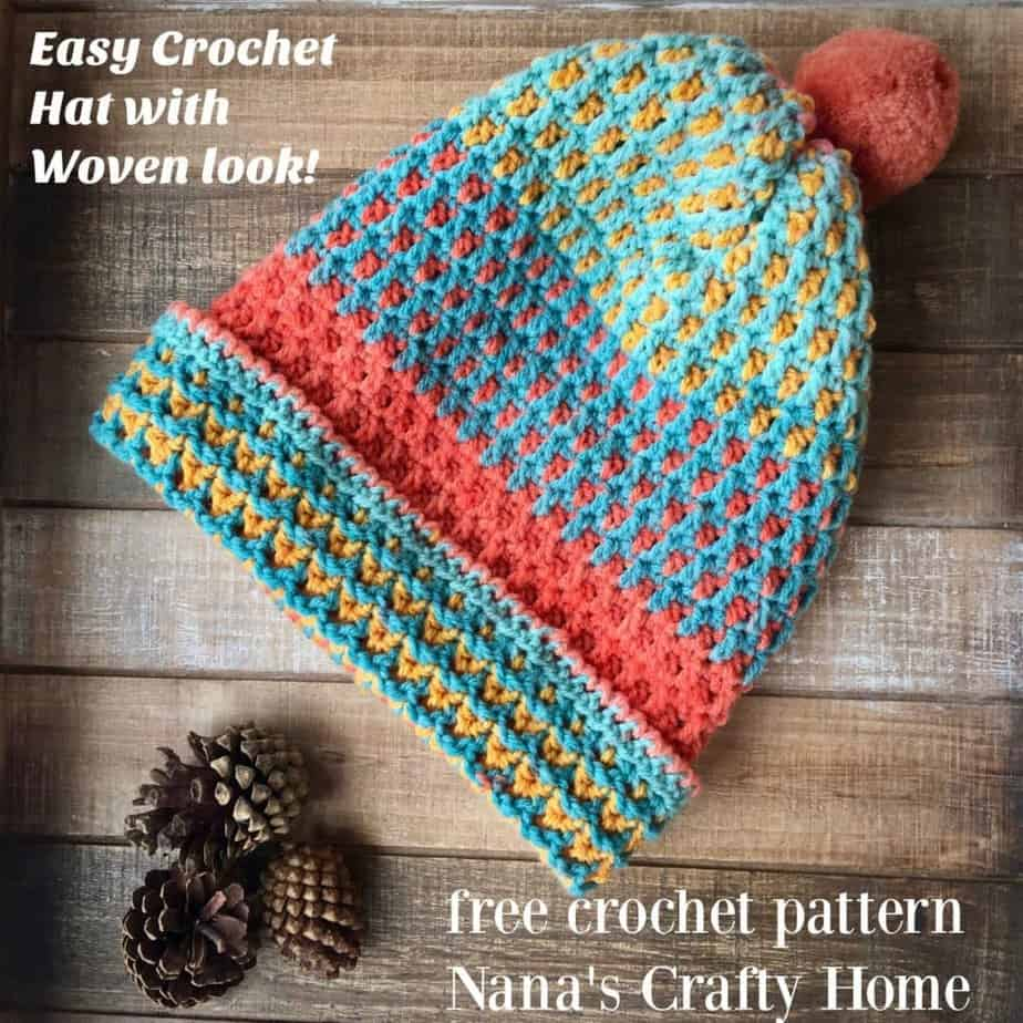 Caron Cupcake Free Crochet Pattern Hat with Woven Look