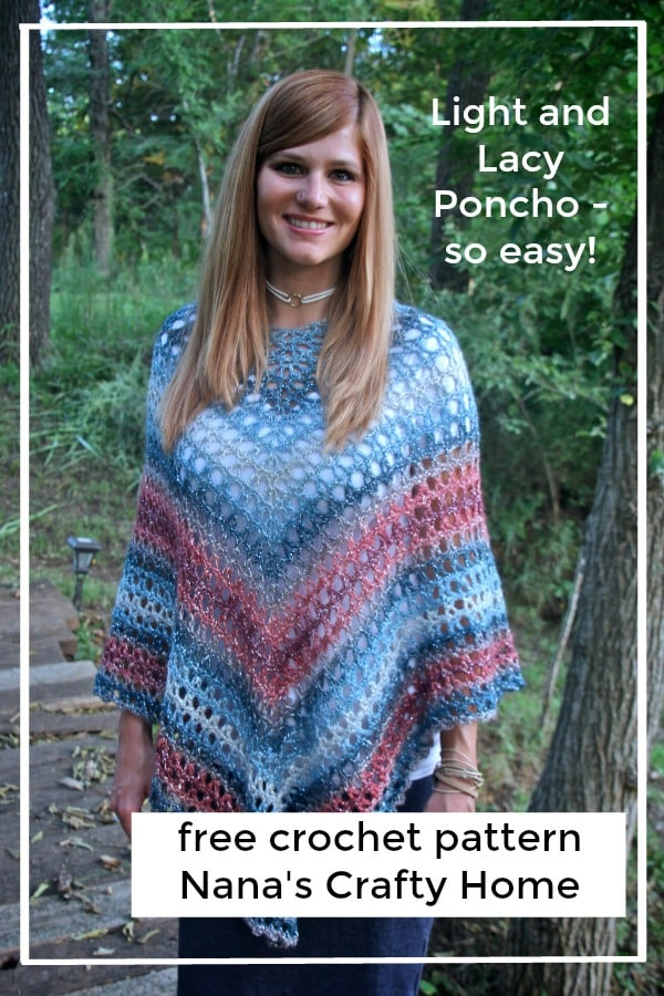 Light and lacy easy crochet poncho free pattern