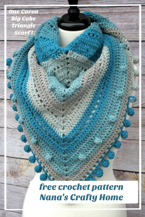 One Caron Big Cake Triangle Scarf free crochet pattern