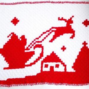 Santa Reindeer C2C Blanket free crochet pattern