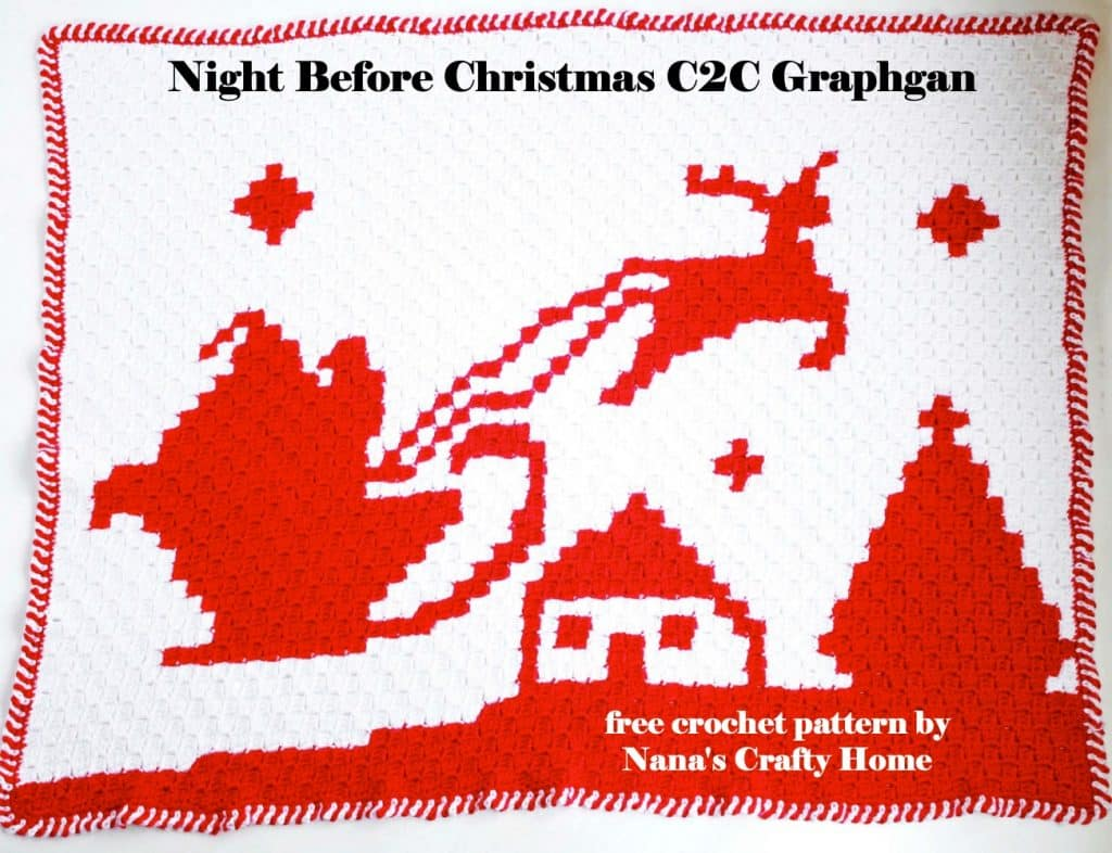 Santa & Reindeer Night Before Christmas C2C (corner to corner) Graphgan Blanket free crochet pattern