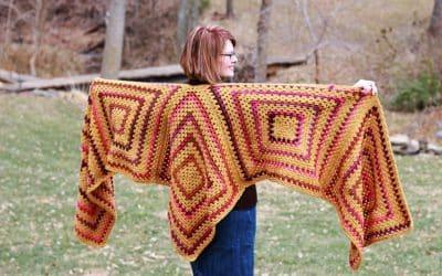Easy Granny Square Crochet Ruana Wrap free pattern Sedona Ruana