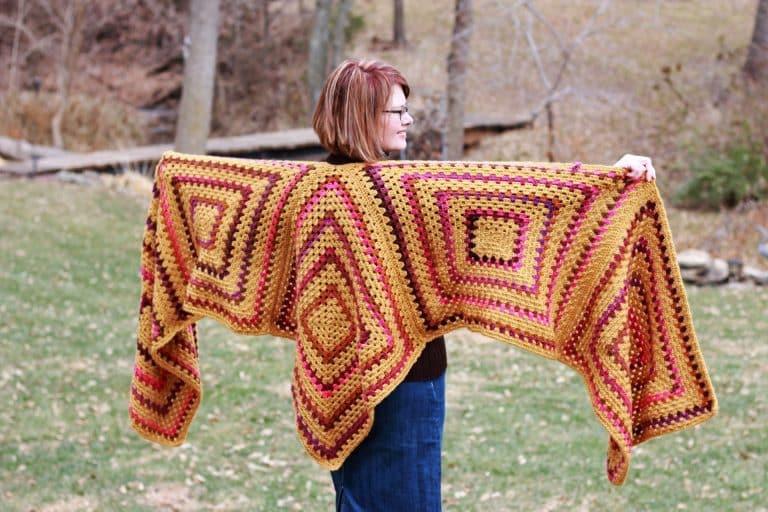 Easy Granny Square Ruana Wrap free crochet pattern