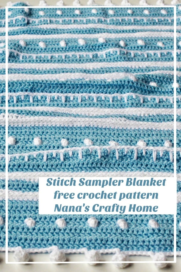 Stitch Sampler Winter themed blanket free crochet pattern