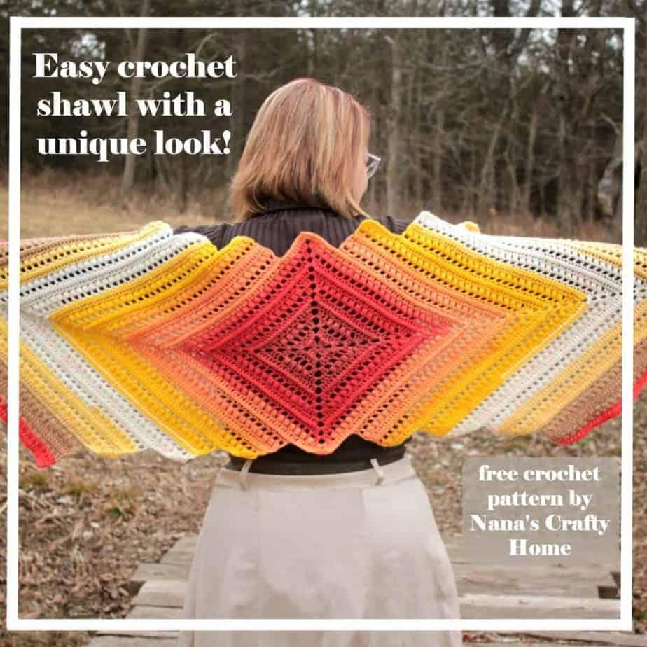 Easy self striping shawl wrap me in sunshine shawl