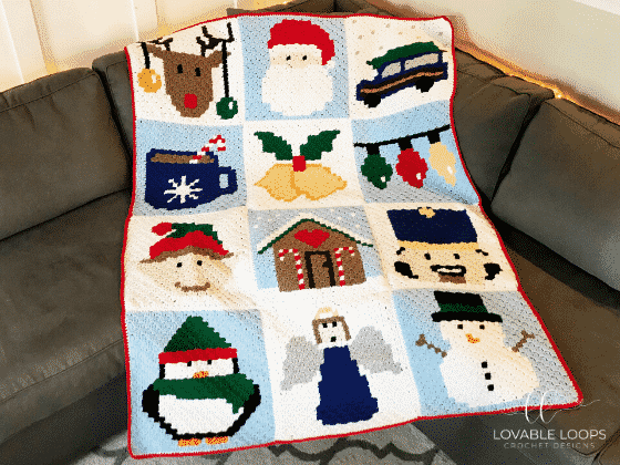 Christmas C2C Blanket by Lovable Loops