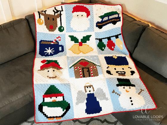 Christmas C2C Blanket by Lovable Loops