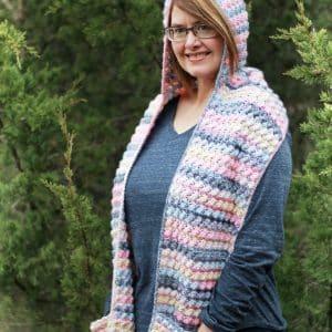 easy scoodie pocket scarf free crochet pattern