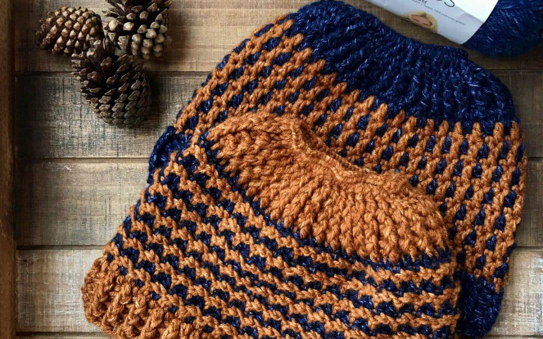 Inside and Out Reversible Messy Bun Hat Crochet Pattern