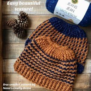 Textured Messy Bun Crochet Hat free pattern