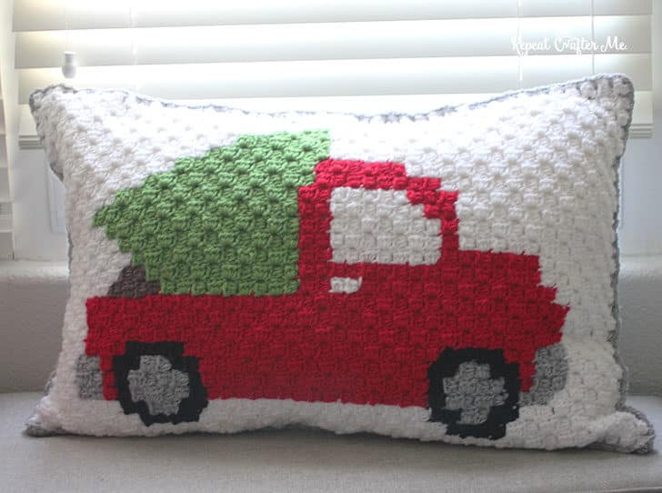 Pickup Truck C2C Christmas Tree Pillow by Repeat Crafter Me