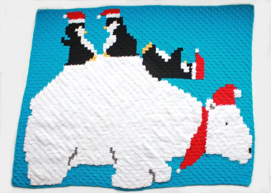 Polar Bear Penguin Pals C2C Graphgan Blanket free crochet pattern