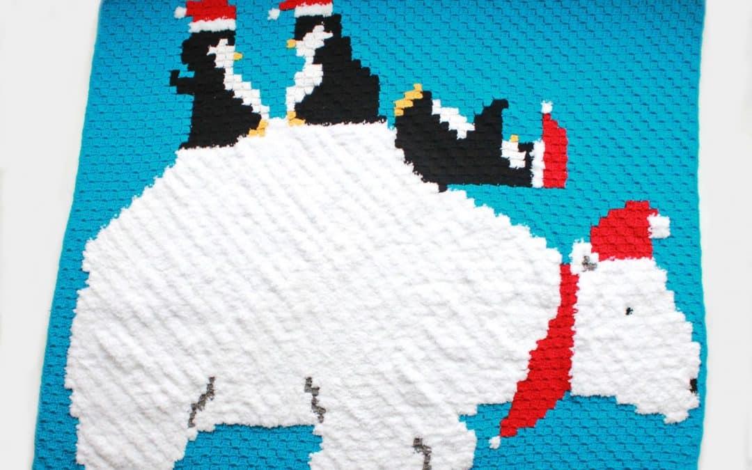 Polar Bear & Penguin C2C Graphgan Blanket Free Crochet Pattern