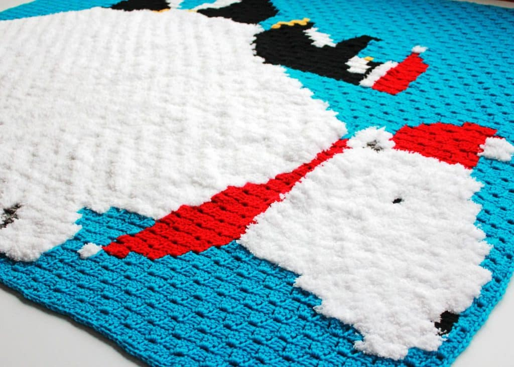 Polar Bear Penguin Pals C2C Graphgan Blanket free crochet pattern