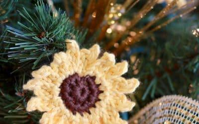 Sunflower Christmas Tree Ornament free crochet pattern