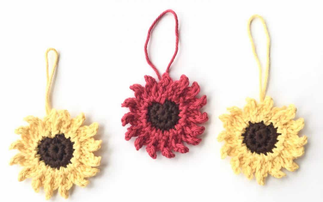 Sunflower Christmas Tree Ornament free crochet pattern