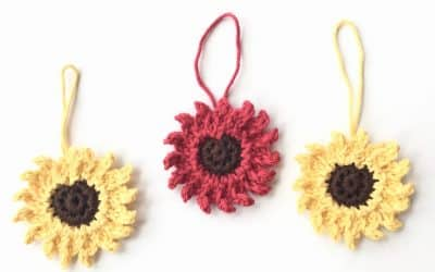 Sunflower Christmas Tree Ornament Applique free crochet pattern