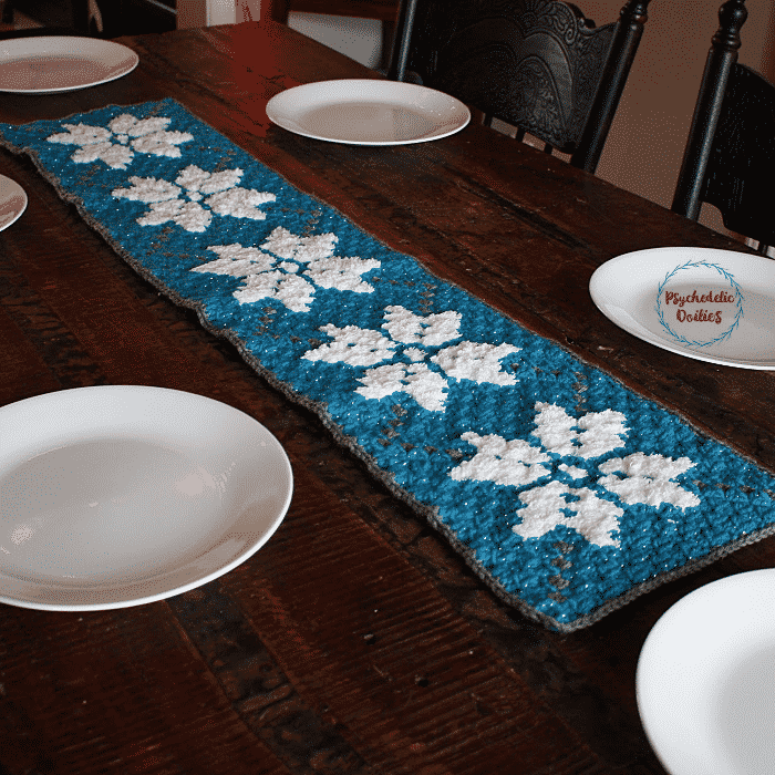 Winter C2C Table Runner by Psychedelic Doilies