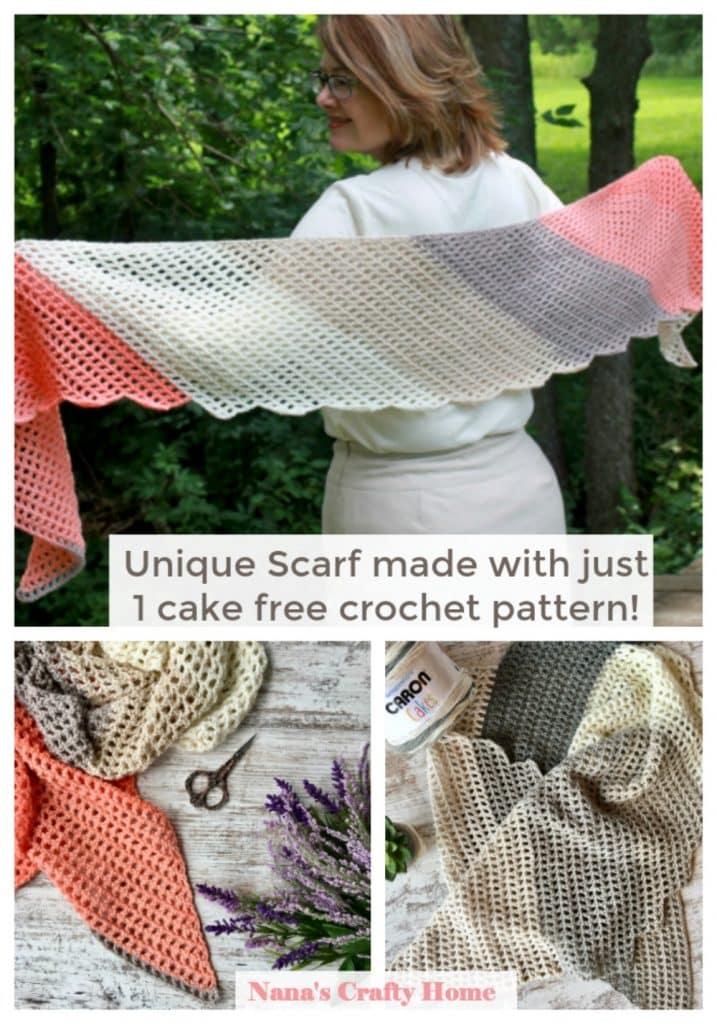 easy unique crochet scarf free pattern 1 Caron Cake