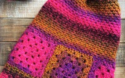 Boho Granny Square Slouchy Crochet Hat free crochet pattern Ferris Wheel Hat