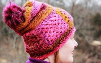 Easy Granny Square Boho Ferris Wheel Hat free crochet pattern