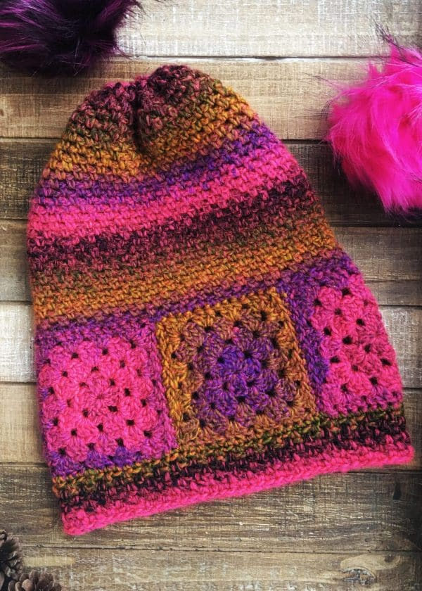 Easy Granny Square Boho Ferris Wheel Hat free crochet pattern